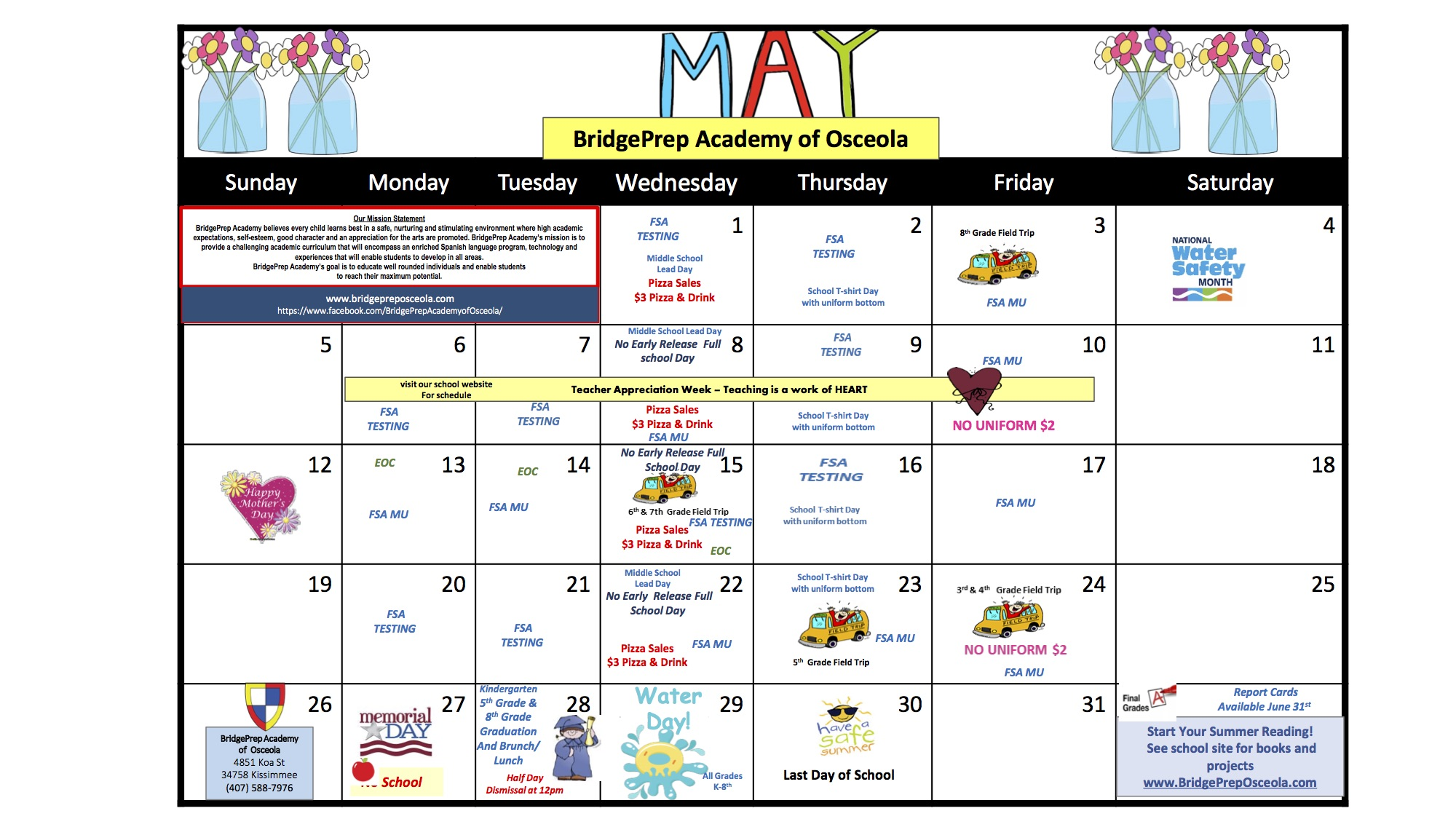 May 2019 Calendar News And Announcements Bridgeprep